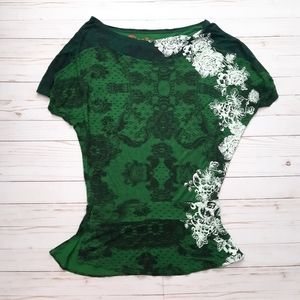 DESIGUAL Floral Green Tunic Short Sleeve Top